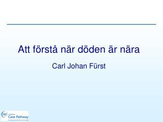 Att förstå när döden är nära Carl Johan Fürst