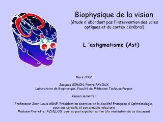 L'astigmatisme (Ast)