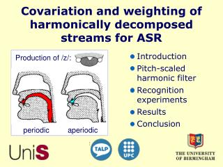 Covariation and weighting of  harmonically decomposed streams for ASR