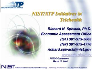 NIST/ATP Initiatives in  Telehealth