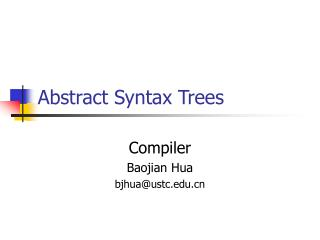 Abstract Syntax Trees