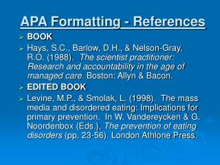 APA Formatting - References