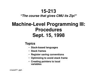 Machine-Level Programming III: Procedures Sept. 15, 1998