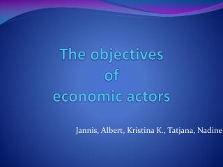 The objectives  of  economic actors