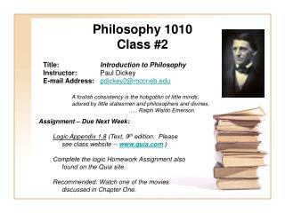 Philosophy 1010 Class #2