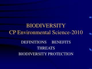 BIODIVERSITY CP Environmental Science-2010