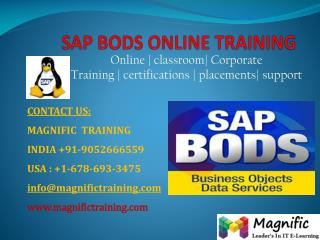 SAP BODS ONLINE TRAINING IN INDIA
