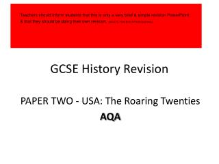 GCSE History Revision