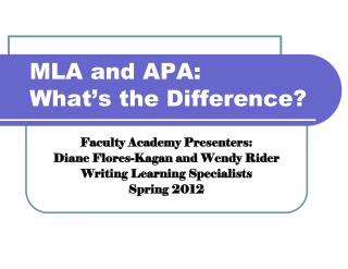 MLA and APA: What�s the Difference?