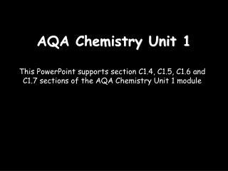 AQA Chemistry Unit 1