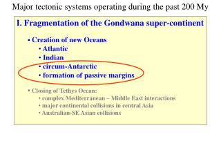 I. Fragmentation of the Gondwana super-continent Creation of new Oceans  Atlantic  Indian