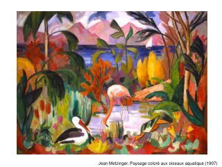 Jean Metzinger, Paysage coloré aux oiseaux aquatique (1907)