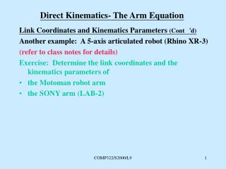 Direct Kinematics- The Arm Equation