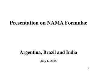 Presentation on NAMA Formulae Argentina, Brazil and India July 6, 2005