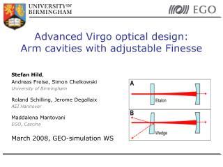 Advanced Virgo optical design: Arm cavities with adjustable Finesse