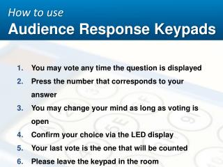 How to  use Audience Response Keypads