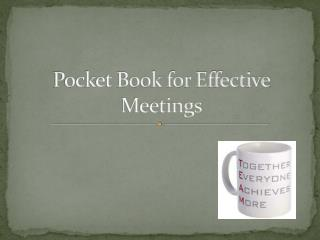 Pocket Book for Effective Meetings