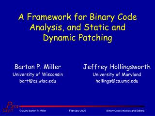 A Framework for Binary Code Analysis, and Static and Dynamic Patching