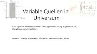 Variable Quellen im Universum