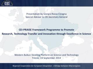 Presentation by Giorgio  Rosso Cicogna Special Advisor to CEI Secretary General