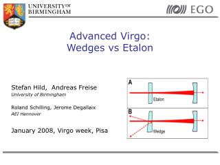 Advanced Virgo: Wedges vs Etalon