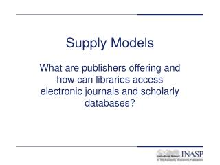Supply Models