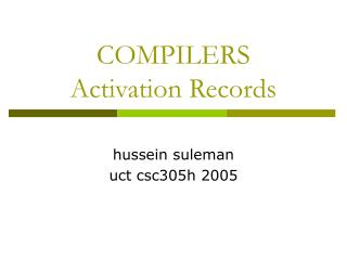COMPILERS Activation Records