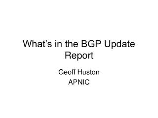 What's in the BGP Update Report