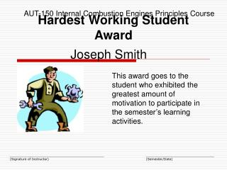 Hardest Working Student Award