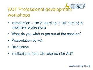AUT Professional development workshops