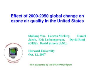 Effect of 2000-2050 global change on ozone air quality in the United States