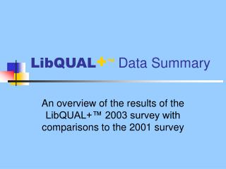 LibQUAL + ™  Data Summary