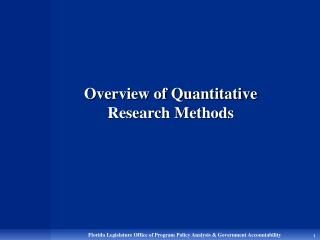 Overview of Quantitative Research Methods