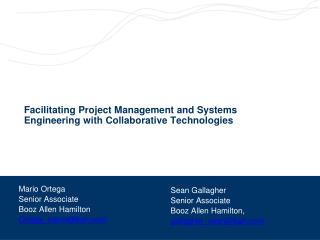 Facilitating Project Management and Systems Engineering with Collaborative Technologies