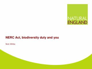 NERC Act, biodiversity duty and you