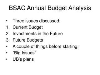 BSAC Annual Budget Analysis
