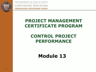Project Management  Certificate Program  control project performance