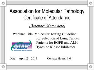 Association for Molecular Pathology Certificate of Attendance