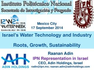 Israel's Water Technology and Industry Roots, Growth, Sustainability