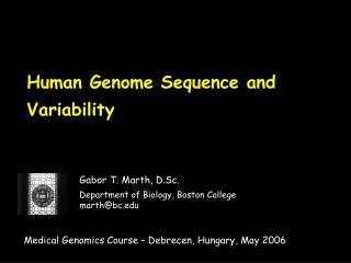 Human Genome Sequence and Variability