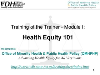 Presented by:  Office of Minority Health  Public Health Policy OMHPHP Advancing Health Equity for All Virginians  vdh.st
