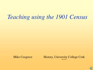 Teaching using the 1901 Census