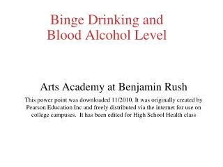Binge Drinking and Blood Alcohol Level
