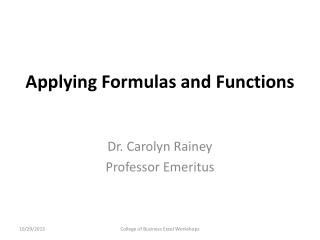 Applying Formulas and Functions