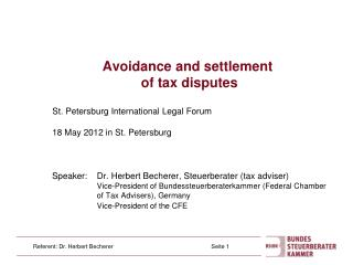 Avoidance and settlement  of tax disputes