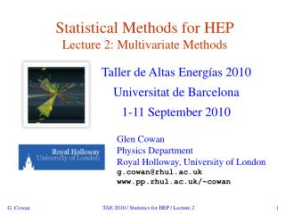 Statistical Methods for HEP Lecture 2: Multivariate Methods