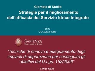 Giornata di Studio Strategie per il miglioramento dell'efficacia del Servizio Idrico Integrato