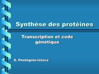 Synth�se des prot�ines