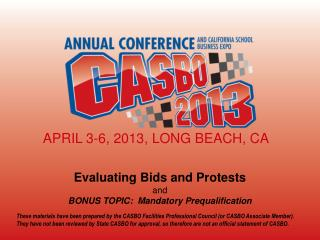 Evaluating Bids and Protests and BONUS TOPIC:  Mandatory Prequalification