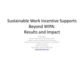 Sustainable Work Incentive Supports Beyond WIPA: Results and Impact